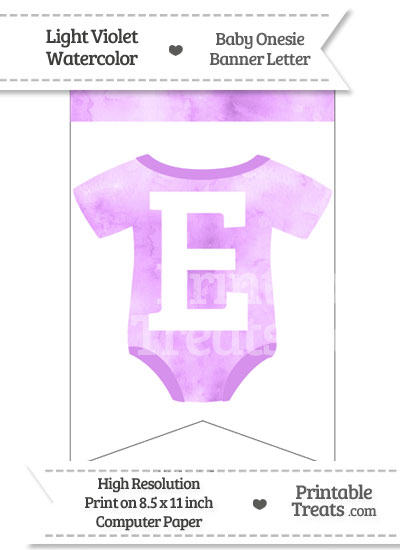 Light Violet Watercolor Baby Onesie Bunting Banner Letter E from PrintableTreats.com