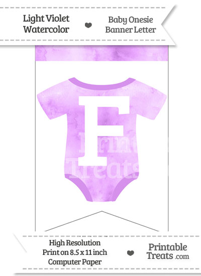 Light Violet Watercolor Baby Onesie Bunting Banner Letter F from PrintableTreats.com