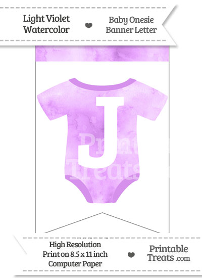 Light Violet Watercolor Baby Onesie Bunting Banner Letter J from PrintableTreats.com