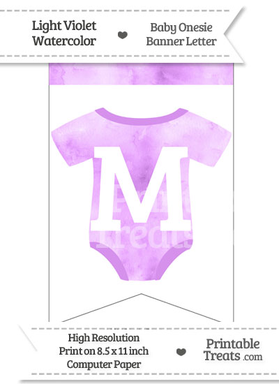 Light Violet Watercolor Baby Onesie Bunting Banner Letter M from PrintableTreats.com