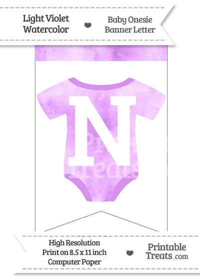 Light Violet Watercolor Baby Onesie Bunting Banner Letter N from PrintableTreats.com