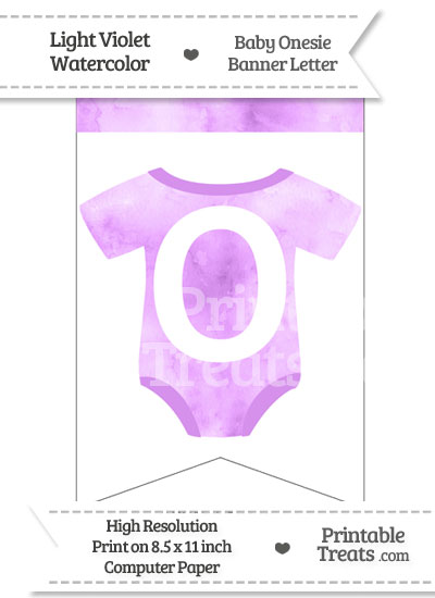 Light Violet Watercolor Baby Onesie Bunting Banner Letter O from PrintableTreats.com