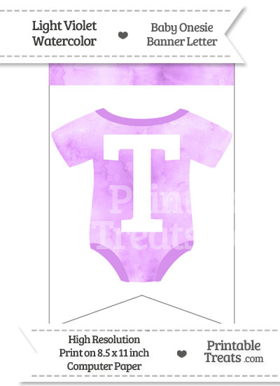 Light Violet Watercolor Baby Onesie Bunting Banner Letter T from PrintableTreats.com