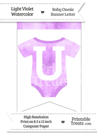 Light Violet Watercolor Baby Onesie Bunting Banner Letter U from PrintableTreats.com