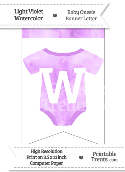 Light Violet Watercolor Baby Onesie Bunting Banner Letter W from PrintableTreats.com
