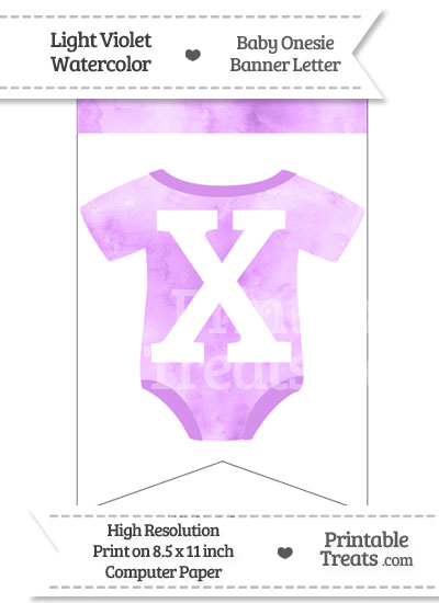 Light Violet Watercolor Baby Onesie Bunting Banner Letter X from PrintableTreats.com