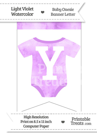 Light Violet Watercolor Baby Onesie Bunting Banner Letter Y from PrintableTreats.com