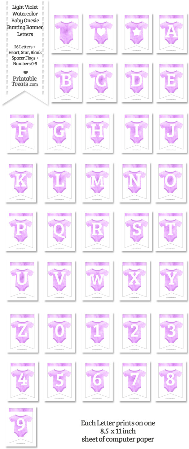 Light Violet Watercolor Baby Onesie Bunting Banner Letters Download from PrintableTreats.com