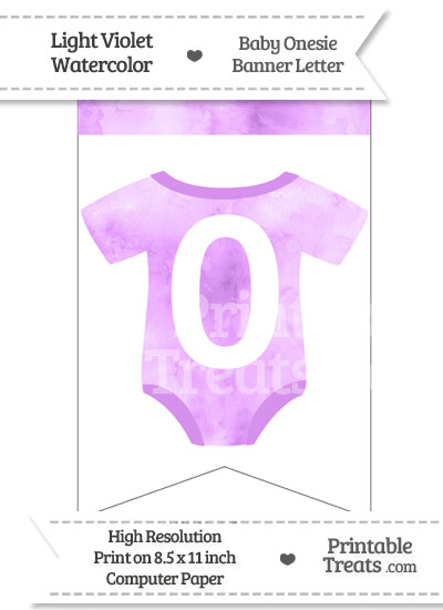 Light Violet Watercolor Baby Onesie Bunting Banner Number 0 from PrintableTreats.com