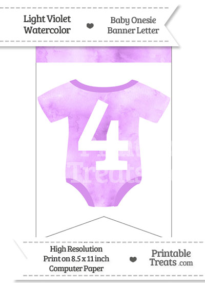 Light Violet Watercolor Baby Onesie Bunting Banner Number 4 from PrintableTreats.com