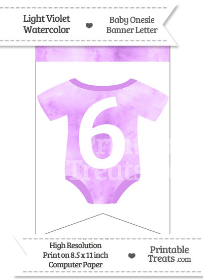 Light Violet Watercolor Baby Onesie Bunting Banner Number 6 from PrintableTreats.com