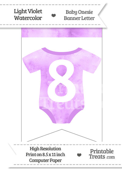 Light Violet Watercolor Baby Onesie Bunting Banner Number 8 from PrintableTreats.com