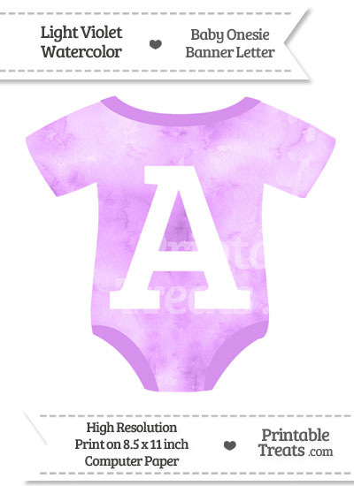 Light Violet Watercolor Baby Onesie Shaped Banner Letter A from PrintableTreats.com