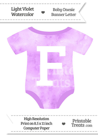 Light Violet Watercolor Baby Onesie Shaped Banner Letter F from PrintableTreats.com