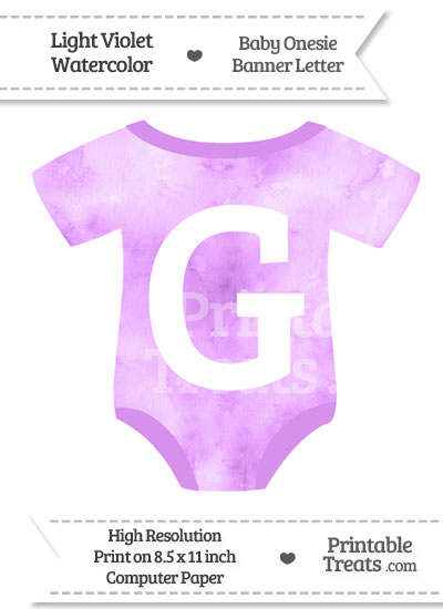 Light Violet Watercolor Baby Onesie Shaped Banner Letter G from PrintableTreats.com