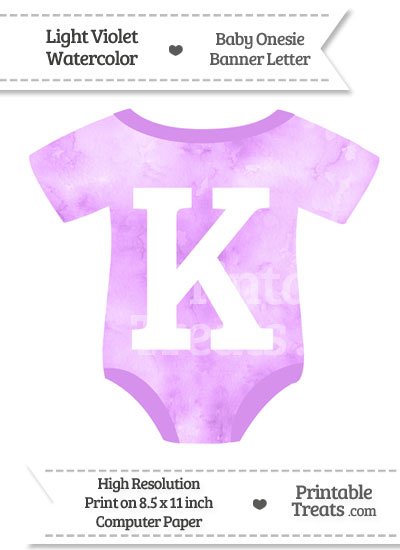 Light Violet Watercolor Baby Onesie Shaped Banner Letter K from PrintableTreats.com