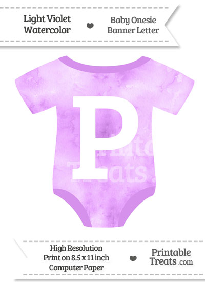 Light Violet Watercolor Baby Onesie Shaped Banner Letter P from PrintableTreats.com