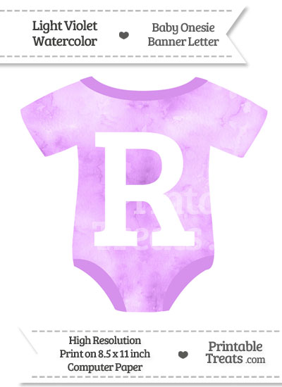 Light Violet Watercolor Baby Onesie Shaped Banner Letter R from PrintableTreats.com