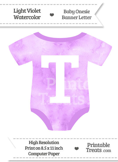 Light Violet Watercolor Baby Onesie Shaped Banner Letter T from PrintableTreats.com