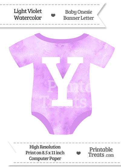 Light Violet Watercolor Baby Onesie Shaped Banner Letter Y from PrintableTreats.com