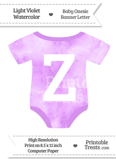 Light Violet Watercolor Baby Onesie Shaped Banner Letter Z from PrintableTreats.com