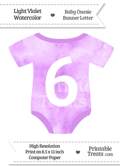 Light Violet Watercolor Baby Onesie Shaped Banner Number 6 from PrintableTreats.com