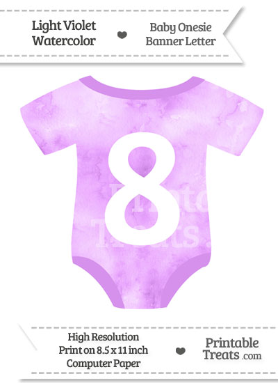 Light Violet Watercolor Baby Onesie Shaped Banner Number 8 from PrintableTreats.com