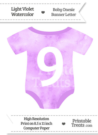 Light Violet Watercolor Baby Onesie Shaped Banner Number 9 from PrintableTreats.com