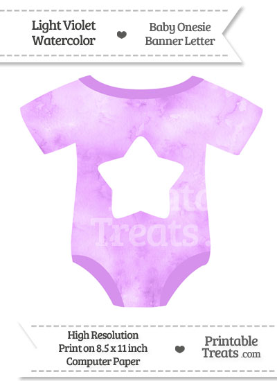 Light Violet Watercolor Baby Onesie Shaped Banner Star End Flag from PrintableTreats.com