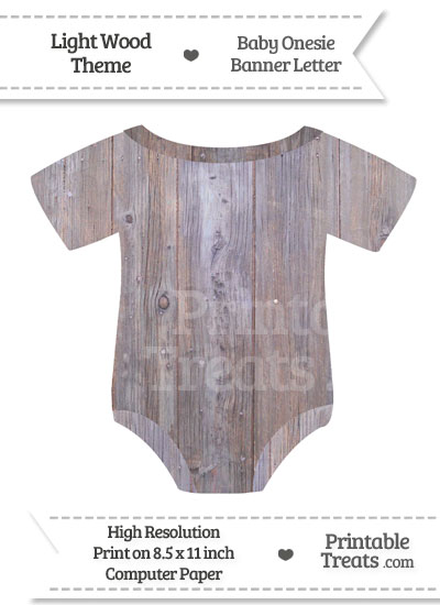 Light Wood Baby Onesie Shaped Banner Blank Spacer Flag from PrintableTreats.com