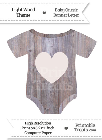 Light Wood Baby Onesie Shaped Banner Heart End Flag from PrintableTreats.com