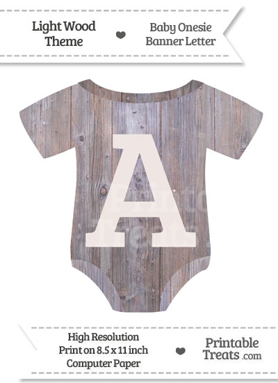 Light Wood Baby Onesie Shaped Banner Letter A from PrintableTreats.com