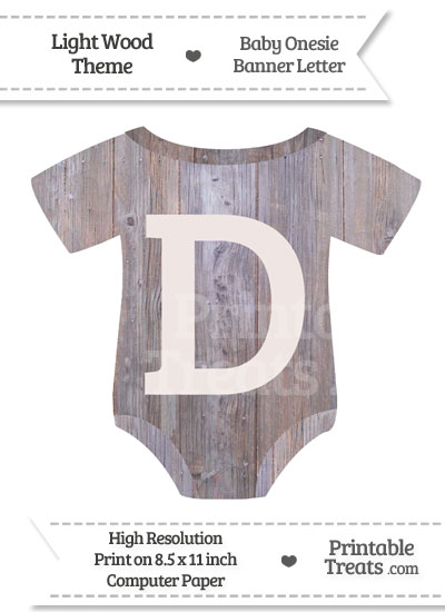 Light Wood Baby Onesie Shaped Banner Letter D from PrintableTreats.com