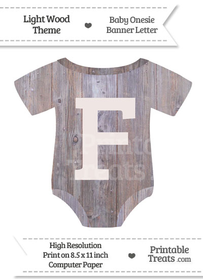 Light Wood Baby Onesie Shaped Banner Letter F from PrintableTreats.com