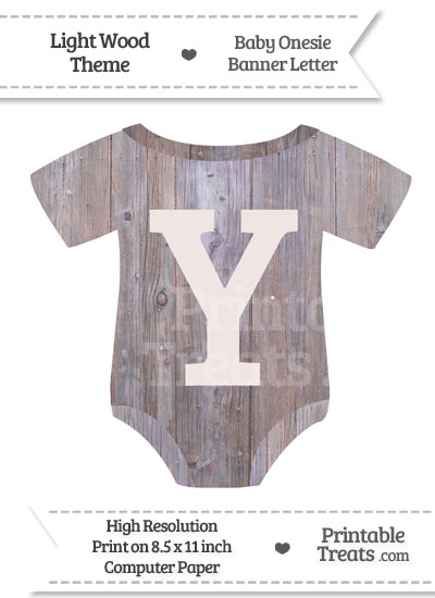 Light Wood Baby Onesie Shaped Banner Letter Y from PrintableTreats.com