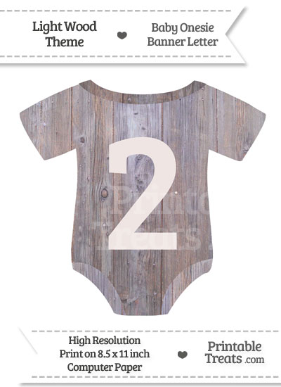 Light Wood Baby Onesie Shaped Banner Number 2 from PrintableTreats.com