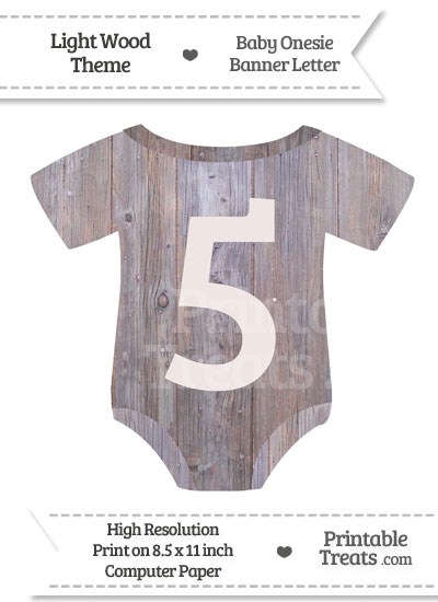 Light Wood Baby Onesie Shaped Banner Number 5 from PrintableTreats.com