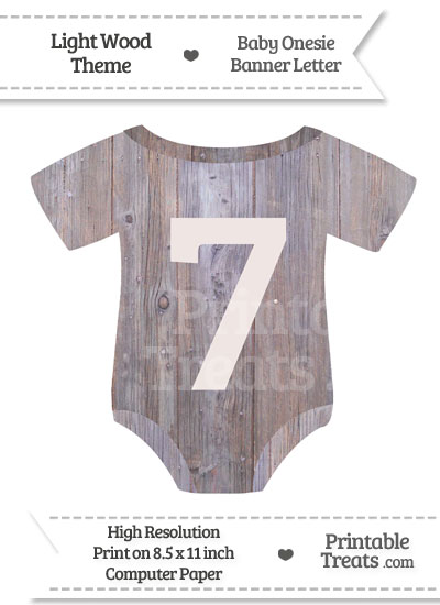 Light Wood Baby Onesie Shaped Banner Number 7 from PrintableTreats.com