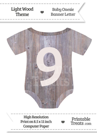 Light Wood Baby Onesie Shaped Banner Number 9 from PrintableTreats.com