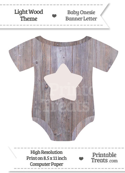 Light Wood Baby Onesie Shaped Banner Star End Flag from PrintableTreats.com