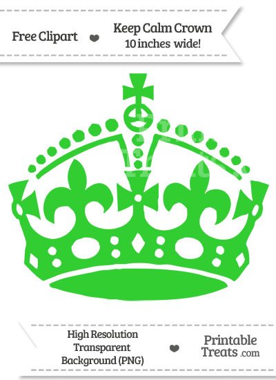 Lime Green Keep Calm Crown Clipart from PrintableTreats.com