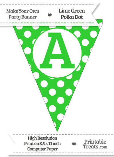 Lime Green Polka Dot Pennant Flag Capital Letter A from PrintableTreats.com