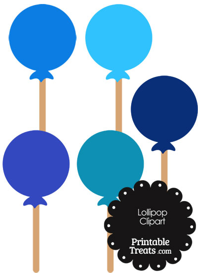 Lollipop Clipart in Shades of Blue from PrintableTreats.com