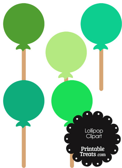 Lollipop Clipart in Shades of Green from PrintableTreats.com