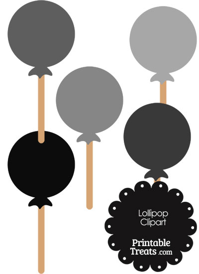Lollipop Clipart in Shades of Grey from PrintableTreats.com
