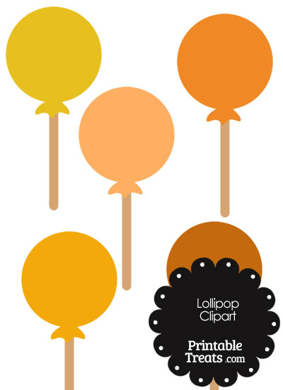 Lollipop Clipart in Shades of Orange from PrintableTreats.com