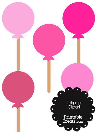 Lollipop Clipart in Shades of Pink from PrintableTreats.com