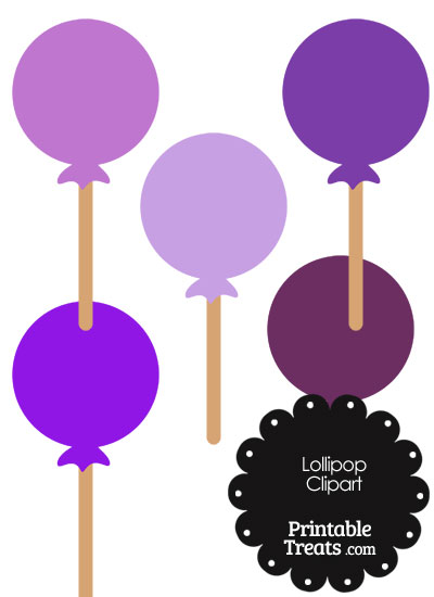 Lollipop Clipart in Shades of Purple from PrintableTreats.com
