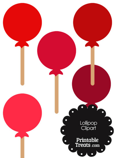 Lollipop Clipart in Shades of Red from PrintableTreats.com