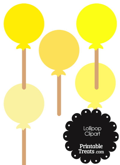 Lollipop Clipart in Shades of Yellow from PrintableTreats.com